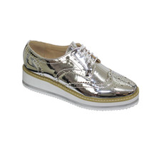 Bella Silver Metallic Laced Brogues Shoe