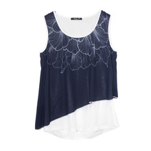 SophieB Navy Asymmetric Sleeveless Top