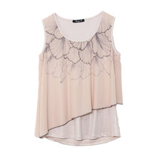 SophieB Beige Asymmetric Sleeveless Top