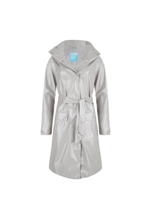 Pamela Scott Long Lacquer Raincoat Cara Clay