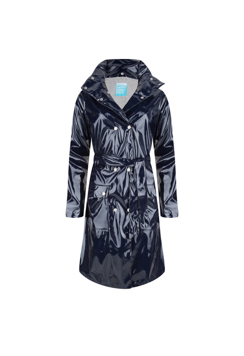 Pamela Scott Long Lacquer Raincoat Nina Navy