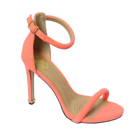 Millie & Co Nude Ankle Strap Open Toe Heel