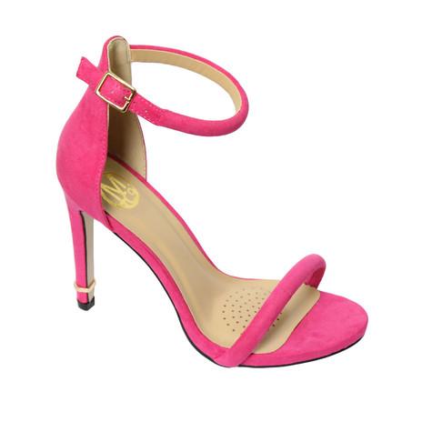 cd59e86a14 Millie & Co Pink Ankle Strap Open Toe Heel | Pamela Scott