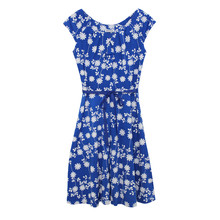 Zapara Royal Blue Dainty Floral Pattern Dress