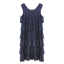Zapara Navy Layered Fine Metallic Pattern Dress