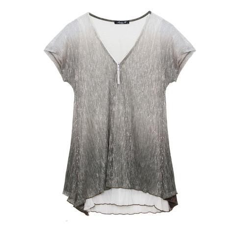SophieB Shimmer Crinkle Metallic Top