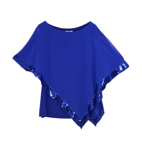 Zapara Royal Blue Cold Shoulder Sequin Trim Top