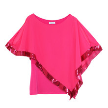 Zapara Fushia Cold Shoulder Sequin Trim Top