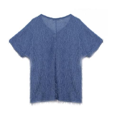 Twist Light Blue Long Haired Yarn Top