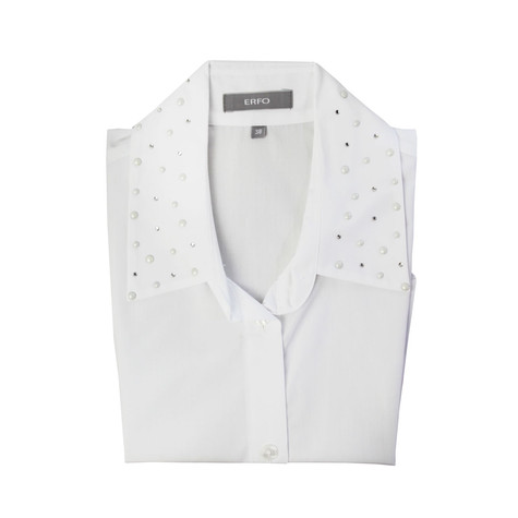 ERFO White Stud Detail Bib Collar Shirt