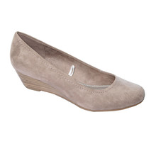 Marco Tozzi Taupe Lower Wedge Court Shoes