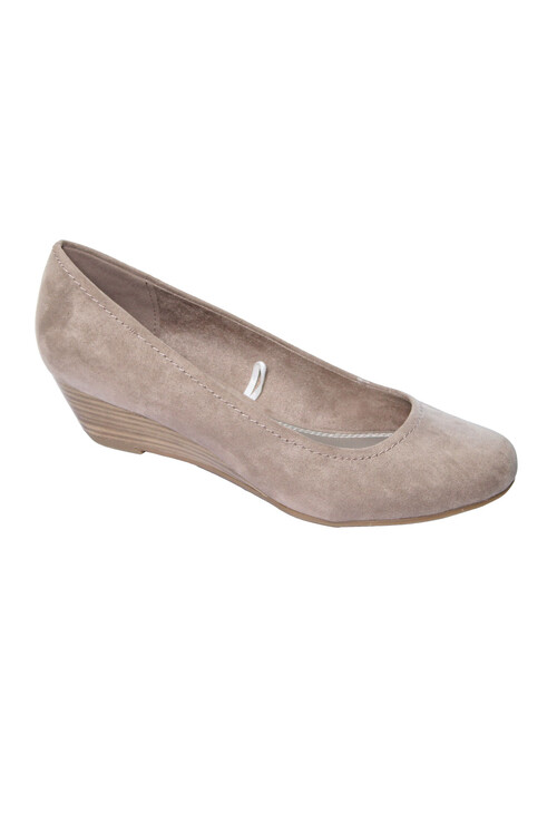 MARCO TOZZI Womens Taupe Low Wedge Court Shoe