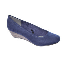 Marco Tozzi Navy Low Wedge Court Shoes