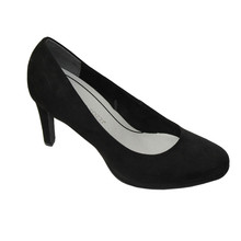 Marco Tozzi Black Micro Fibre Slim Court Shoes