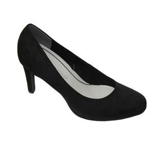Marco Tozzi Black Micro Fibre Slim Court Shoes