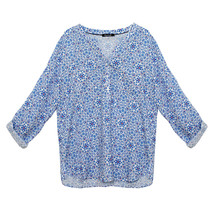 Twist Henley Light Floral Blouse