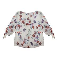 Zapara Bird Print Cuff Tie Blouse