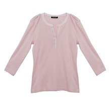 Twist Pink Henley Top with Crystal Details