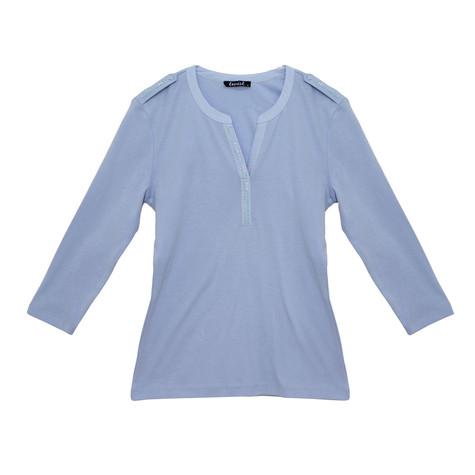 Twist Blue Henley Top with Crystal Details