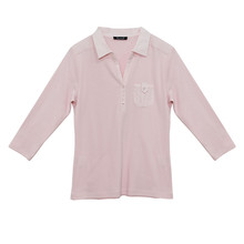 Twist Pink Pleat Shoulder Polo Top