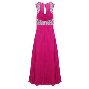 Max And Lola Cerise Mesh Front & Back Long Dress