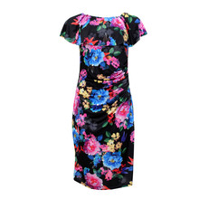 Zapara Dark Floral Bardot Inspired Dress