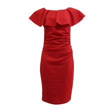 Zapara Red Bardot Neckline Dress