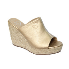 Fabulous Gold Metallic Peep Toe Mule Wedges