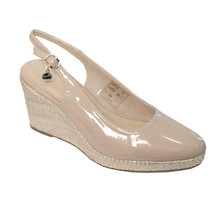 CORTINA Nude Patent Sling Back Wedge Shoes
