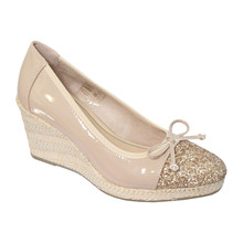 CORTINA Nude Patent Toe Cap Wedge Shoes