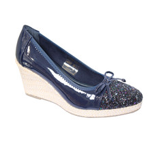 CORTINA Navy Patent Toe Cap Wedge Shoe