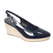 CORTINA Navy Patent Sling Back Wedge Shoes