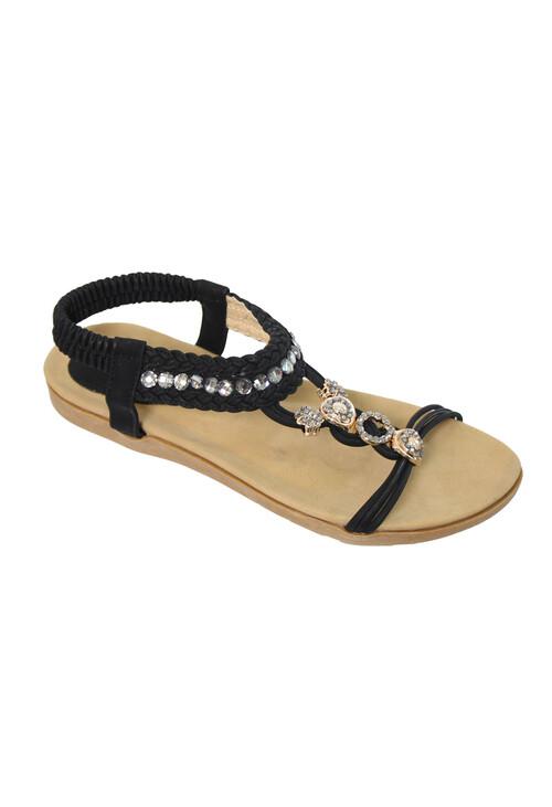 Pamela Scott Black T Strap Elastic Sandal
