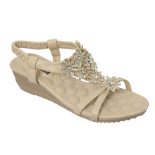 Vice Verso Beige Flower Pattern Wedge Sandals