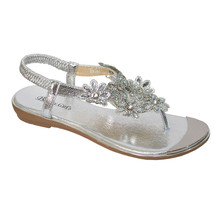 Beauty Girl Silver Jeweled Toe Post Glam Sandals