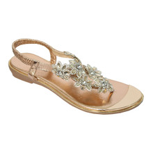 Beauty Girl Champagne Jeweled Toe Post Glam Sandals