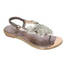 Beauty Girl Pewter Jeweled Toe Post Glam Sandals