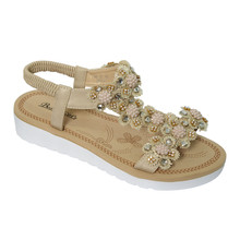 Beauty Girl Beige Jewled Toe Post Cushioned Insole Sandal
