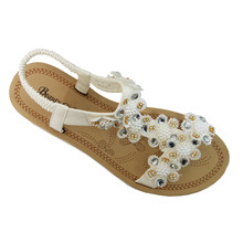Beauty Girl White Jeweled Toe Post Cushioned Insole Sandal