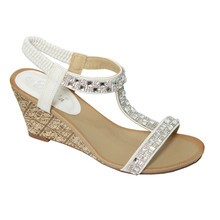 Emella White T-Strap Wedge Sandal