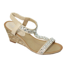 Emella Beige T-Strap Wedge Sandals