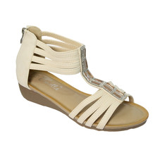 Emella Beige Back Zip, Cushioned Insole Sandal