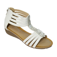 Emella White Back Zip Cushioned Insole Sandals