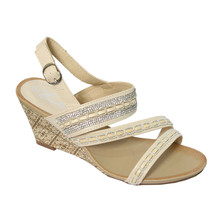 Emella Beige Cross Strap Wedge Sandal