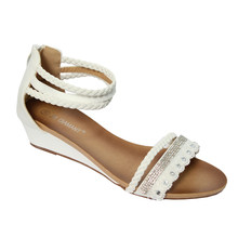 Jin Ma White Ankle Strap Back Zip Sandal