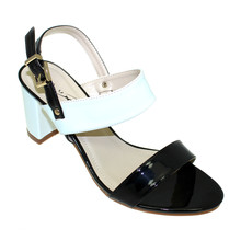 Lunar Black Monochrome Block Sandals