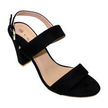 Lunar Black Mcro-fibre Block Heel Sandals