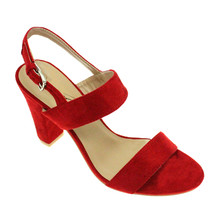 Lunar Red Micro-Fibre Black Heel Sandals