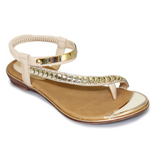Lunar Beige Toe Post Glam Sandal