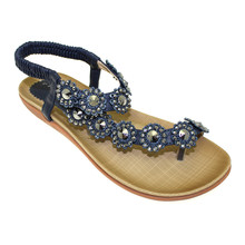 Lunar Navy Toe Post Elastic Sandals